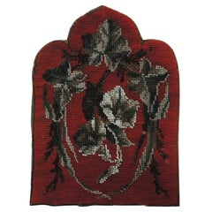 Red and Gray Floral Beaded Small Tapestry