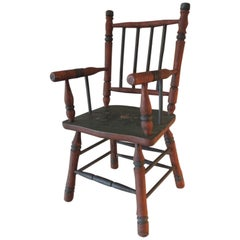 Red and Green Folk Art Painted Wood Child Armchair