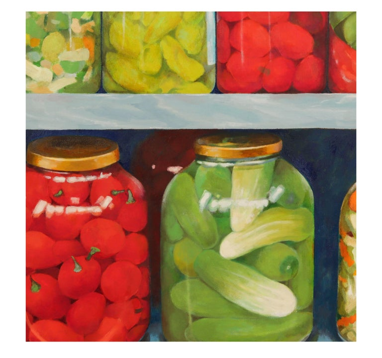 Red and green 'Pickled' still life by Irma Cavat, 1983, oil on canvas painting, signed Cavat lower right. Provenance:  Private Collection, New York. Kennedy Galleries, 730 5th Avenue, NY, NY  Literature: Deak, Gloria-Gilda, 'Irma Cavat, Recent