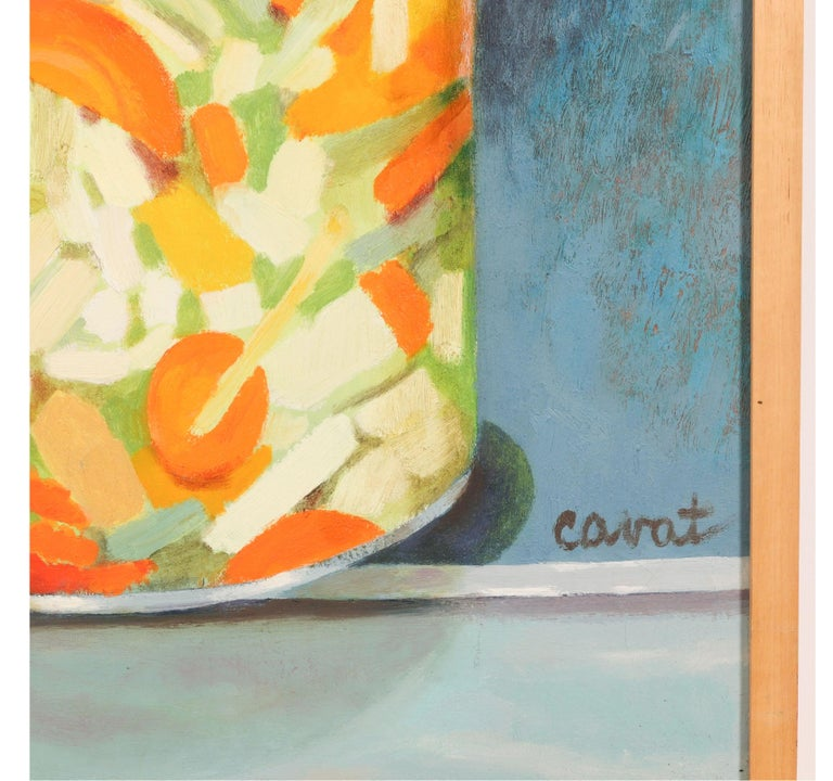 Neoclassical Revival Red and Green 'Pickled' Still Life by Irma Cavat, 1983, Oil on Canvas Painting For Sale