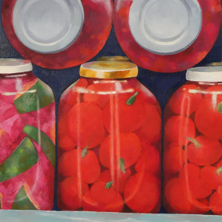 American Red and Green 'Pickled' Still Life by Irma Cavat, 1983, Oil on Canvas Painting For Sale