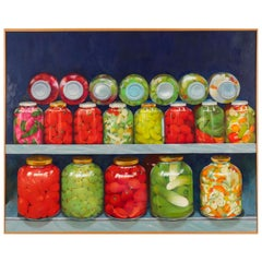 Red and Green 'Pickled' Still Life by Irma Cavat, 1983, Oil on Canvas Painting