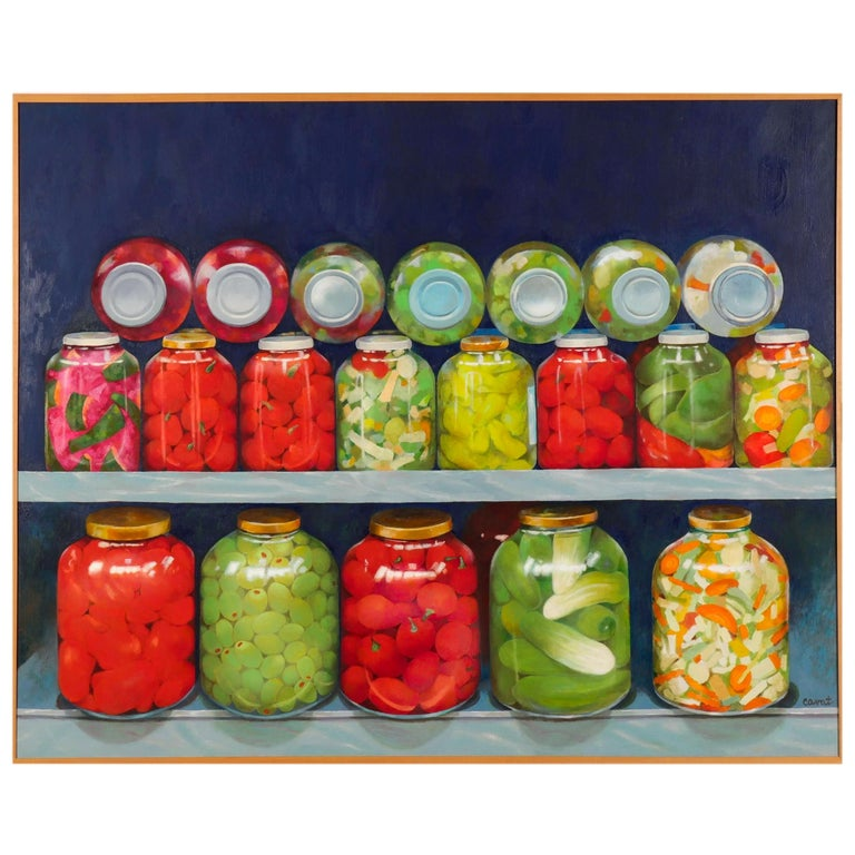 Red and Green 'Pickled' Still Life by Irma Cavat, 1983, Oil on Canvas Painting For Sale