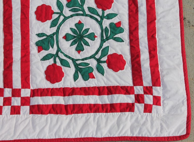 Perfect quilt for the holidays. This sampler quilt is handmade and in perfect condition. Beautiful hand made with holiday colors.