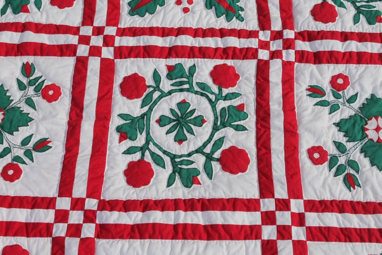 Country Red and Green Sampler Crib Quilt For Sale