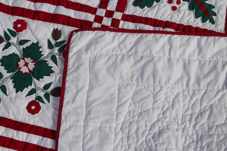 American Red and Green Sampler Crib Quilt For Sale