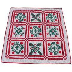 Red and Green Sampler Crib Quilt