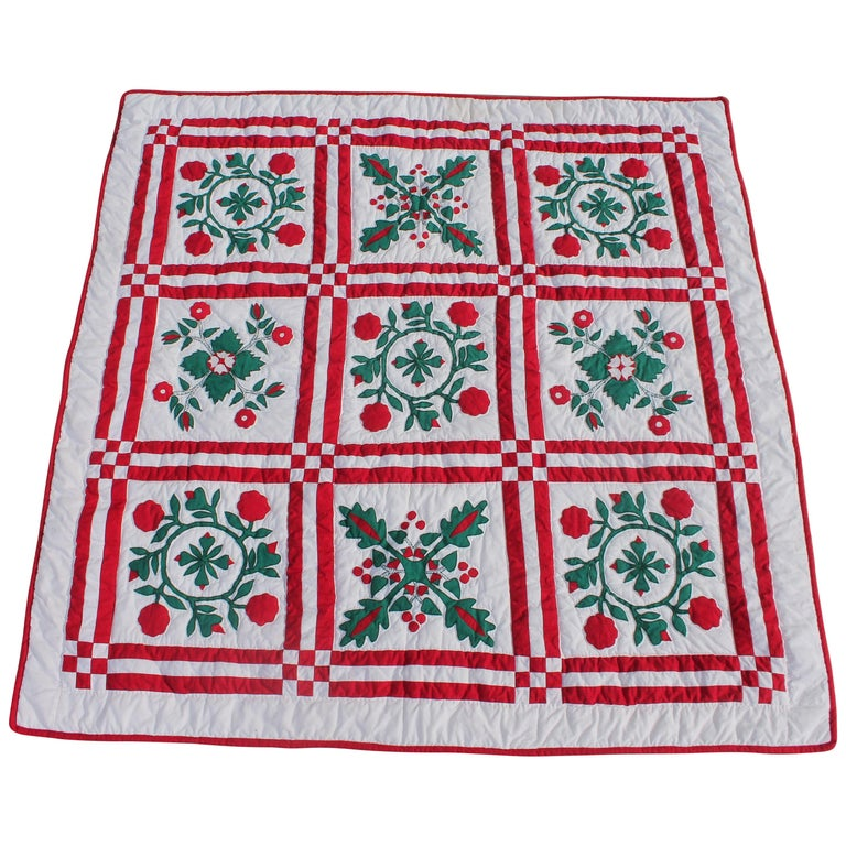 Red and Green Sampler Crib Quilt For Sale