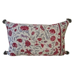 Red and Grey Birds and Flowers Linen Pillow French