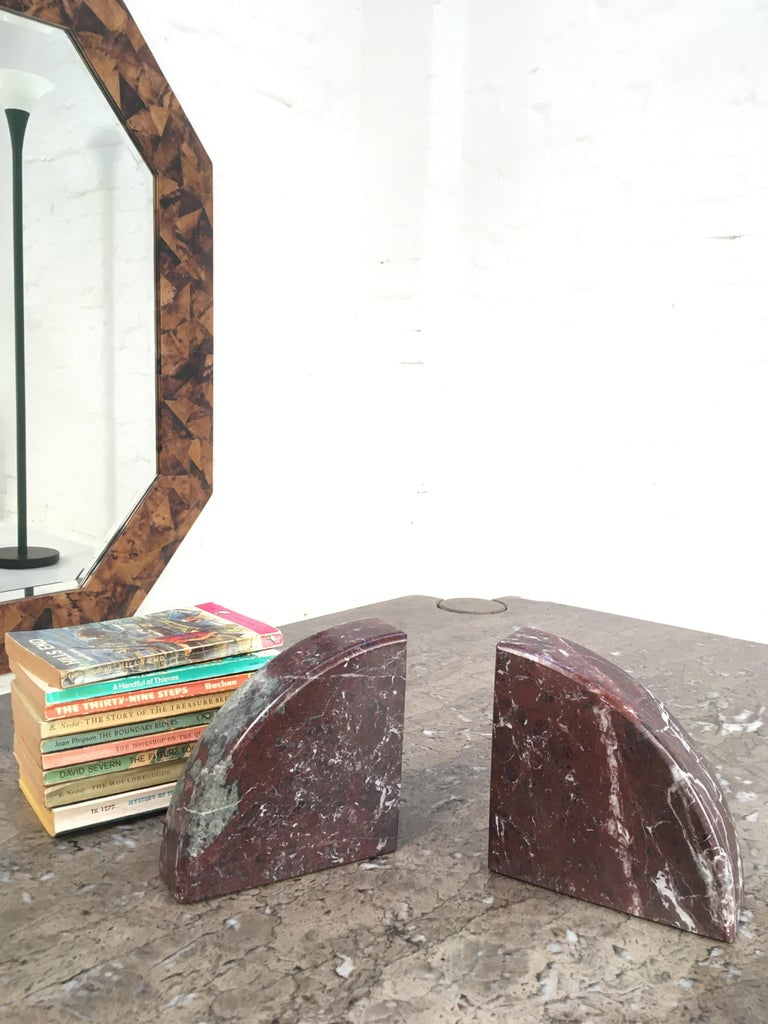 Red and Grey-Green Marble Bookends 1990s Postmodern Memphis 4