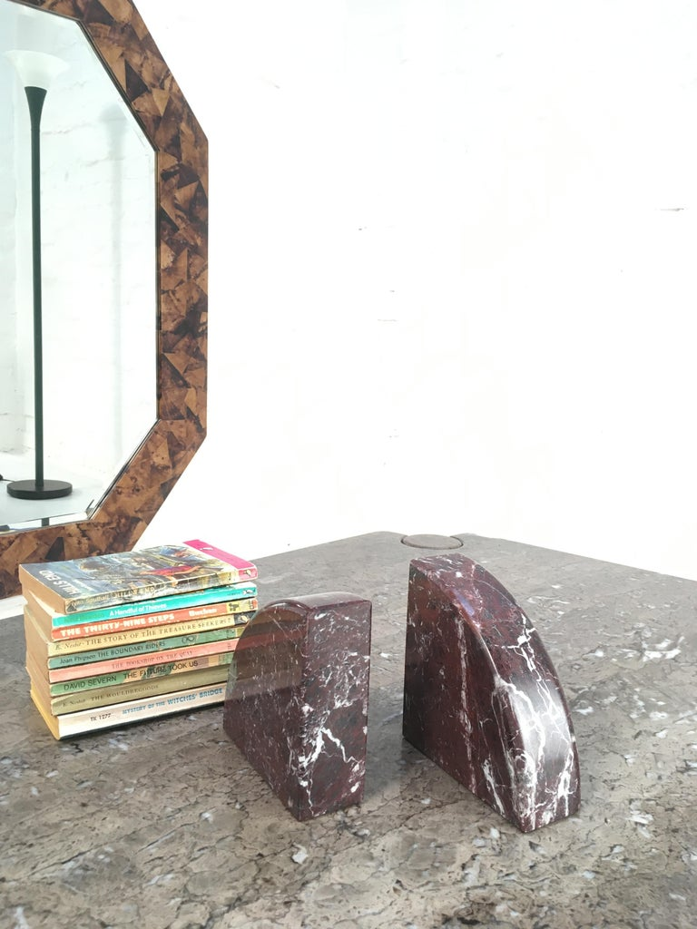 Red and Grey-Green Marble Bookends 1990s Postmodern Memphis 5