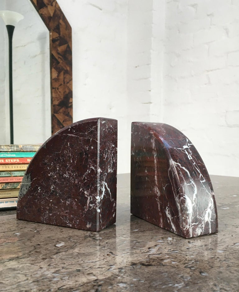 Red and Grey-Green Marble Bookends 1990s Postmodern Memphis 7