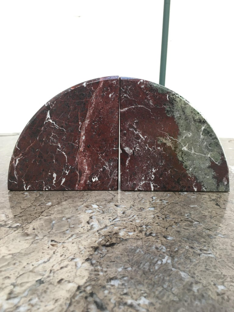 Red and Grey-Green Marble Bookends 1990s Postmodern Memphis 8
