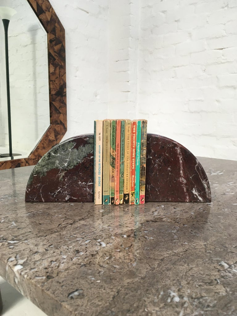 Post-Modern Red and Grey-Green Marble Bookends 1990s Postmodern Memphis