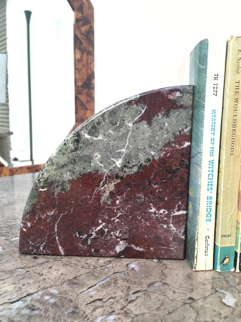 Unknown Red and Grey-Green Marble Bookends 1990s Postmodern Memphis