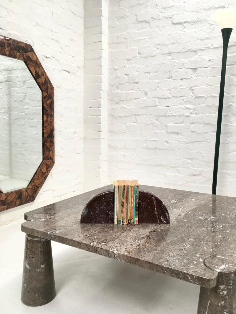 Late 20th Century Red and Grey-Green Marble Bookends 1990s Postmodern Memphis
