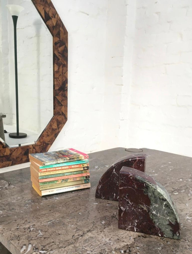 Red and Grey-Green Marble Bookends 1990s Postmodern Memphis 3