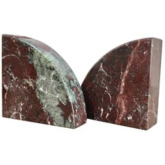 Red and Grey-Green Marble Bookends 1990s Postmodern Memphis
