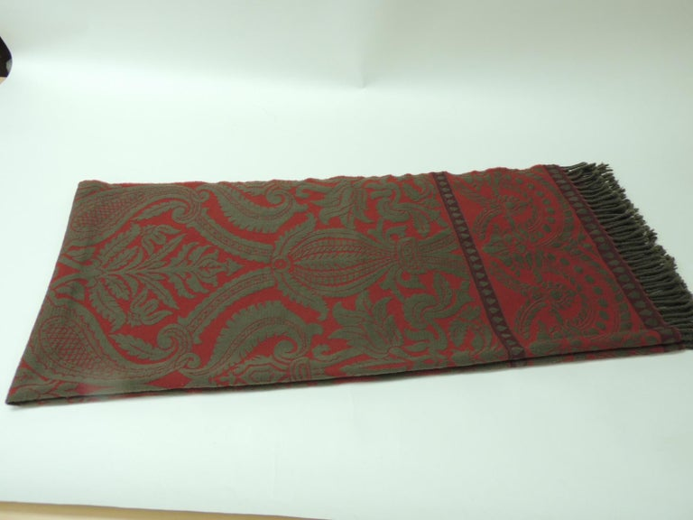 Regency Red and Grey Hand Loomed Fine Wool Anichini Throw For Sale