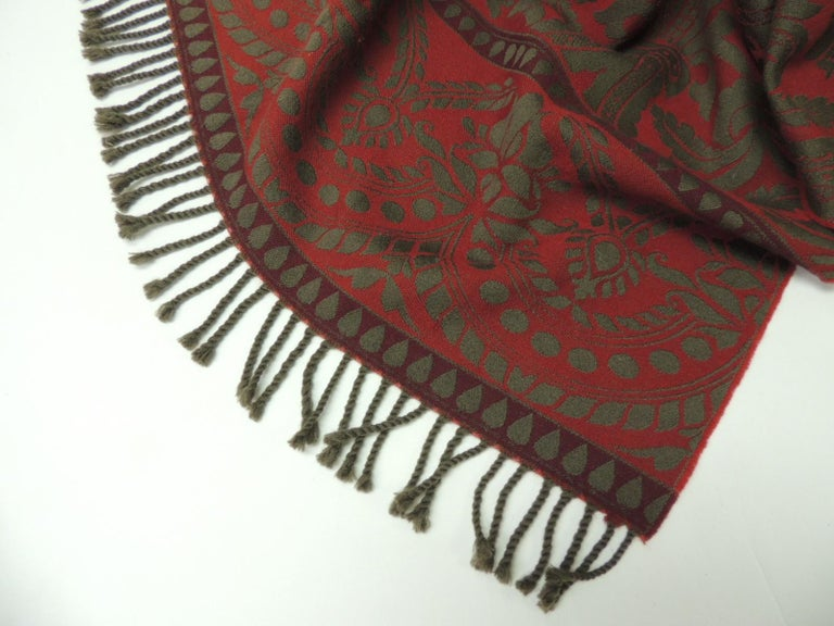 Nepalese Red and Grey Hand Loomed Fine Wool Anichini Throw For Sale