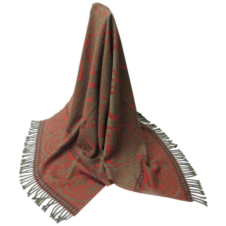 Red and Grey Hand Loomed Fine Wool Anichini Throw For Sale