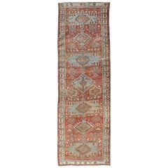 Red and Light Blue-Gray Toned Antique Persian Heriz Gallery Rug with Medallions