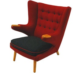 Red nad black Midcentury Wingback armchair from the 1950`s, Scandinavia