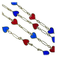 Berca Red Navy Blue Heart Shaped Hand Enameled Yellow Gold Long Chain Necklace