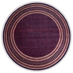 Red and Navy Blue Kashmir Tribal Rug with Cream Accents, Round from India