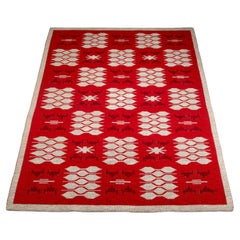 Red and Pale Grey Reversible Flatweave Rug, Sweden, 1960s