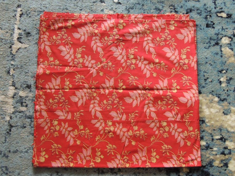 Antique floral large textile panel In shades of gold, red and pink. Ideal for pillows. shades, curtains, slipcovers and upholstery. (Three panels are swon together each one measuring 33