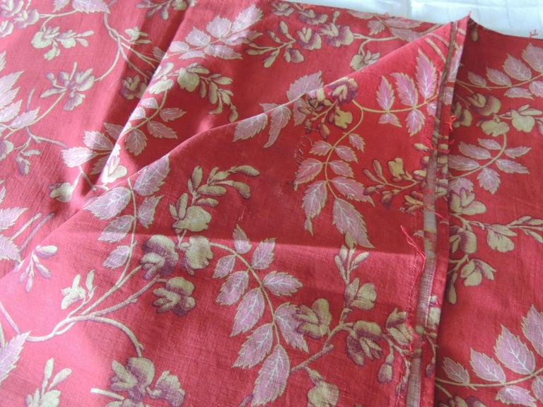 Arts and Crafts Red and Pink Antique Floral Large Textile Panel For Sale