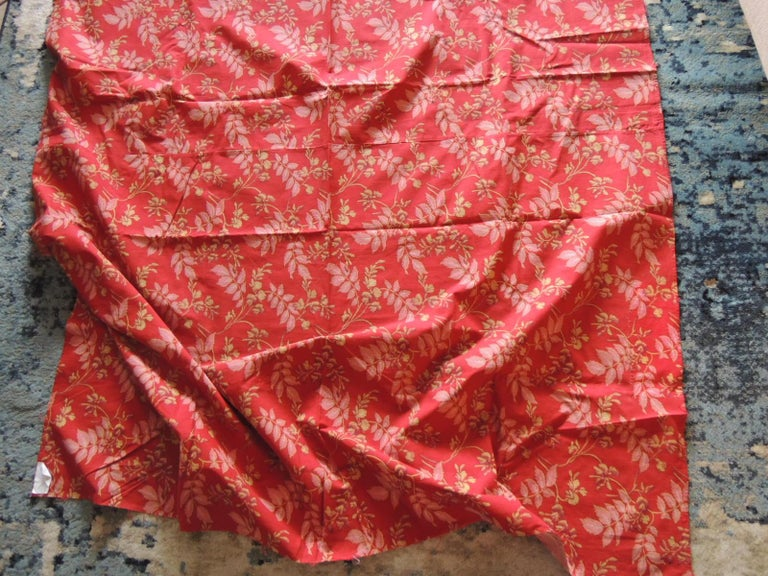 English Red and Pink Antique Floral Large Textile Panel For Sale