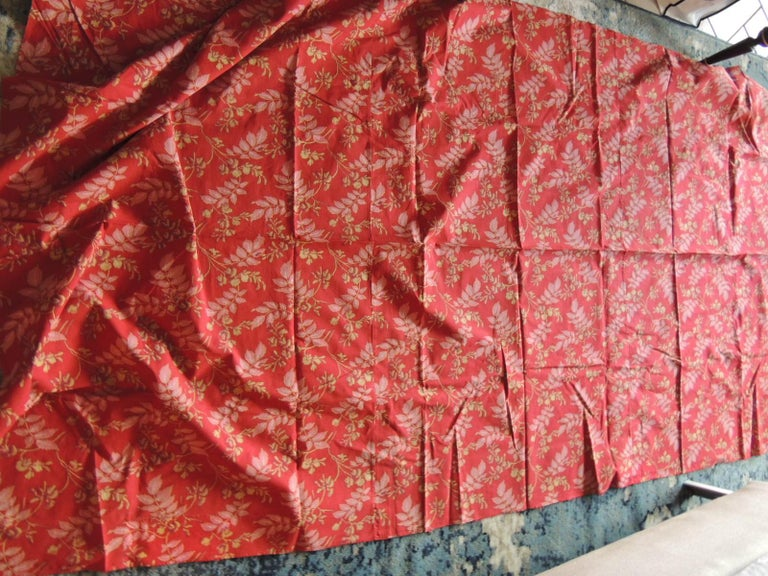 Hand-Crafted Red and Pink Antique Floral Large Textile Panel For Sale