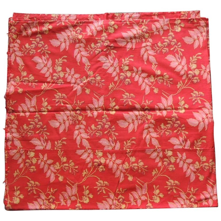 Red and Pink Antique Floral Large Textile Panel For Sale