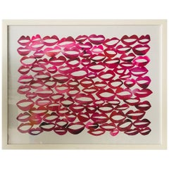 "Red and Pink Contemporary Lithograph ""All the Ladies"" by Kate Roebuck 'Red Lips'"