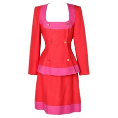 Red and pink wild silk skirt suit Claude Montana