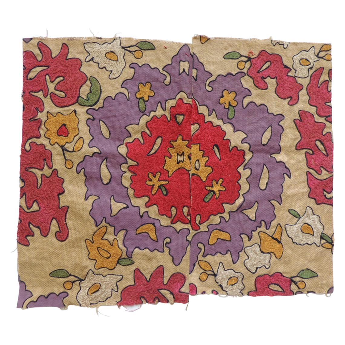 Red and Purple Embroidery Suzani Textile Fragment