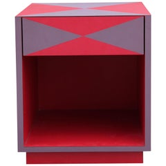 Red and Purple Modern Memphis Style Side Table
