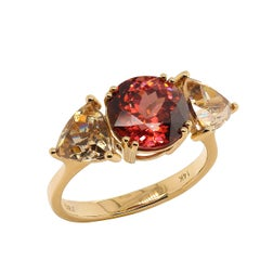 Red and Smoky Cambodian Zircon Ring