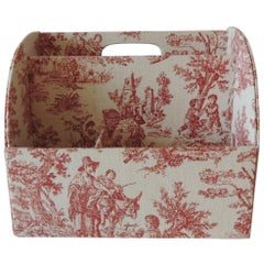 Red and Tan Toile Desk Stationary Caddy