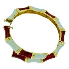 Red and White Enamel Bangle / Bracelet in 18 Karat Yellow Gold Cuff 66 Grams