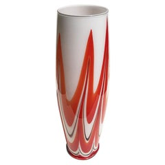 Red and White Italian Glass Vessel Vase in Murano Style Glass Italy 20th Century