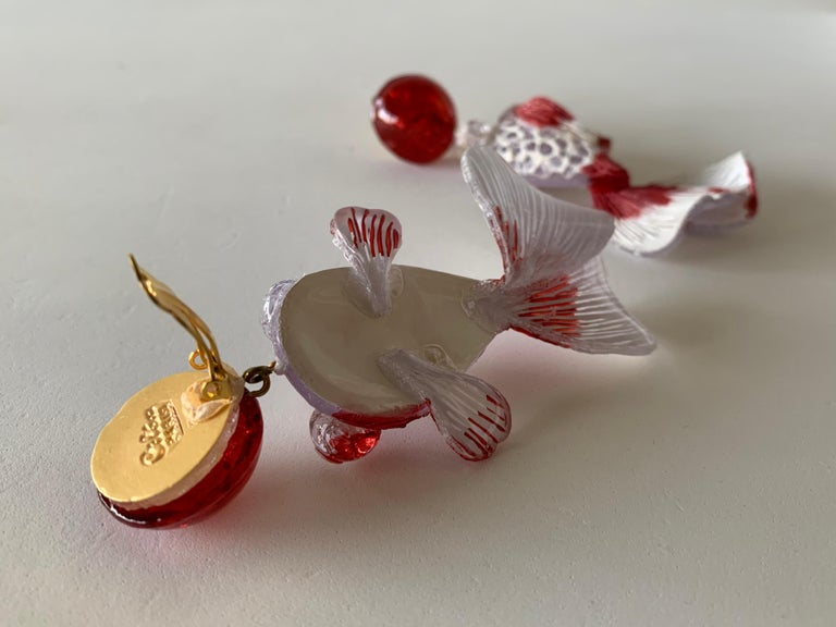Red and White Koi Fish Statement Earrings  For Sale 7