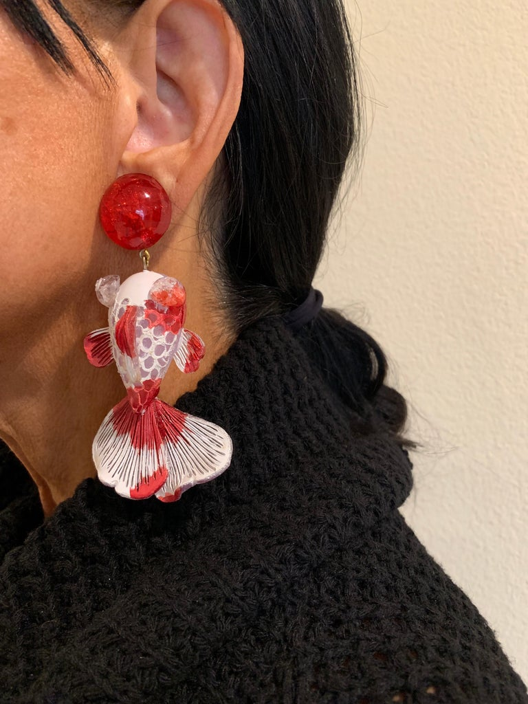 Contemporary Red and White Koi Fish Statement Earrings  For Sale