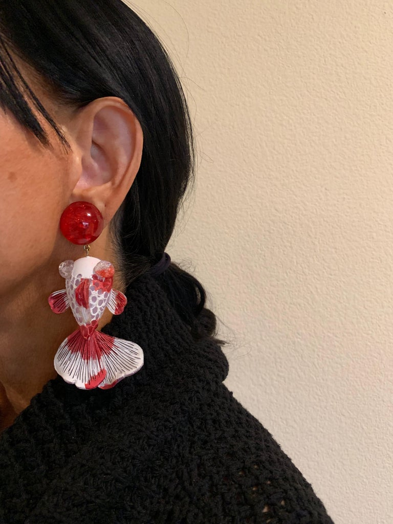 Red and White Koi Fish Statement Earrings  In New Condition For Sale In Palm Springs, CA