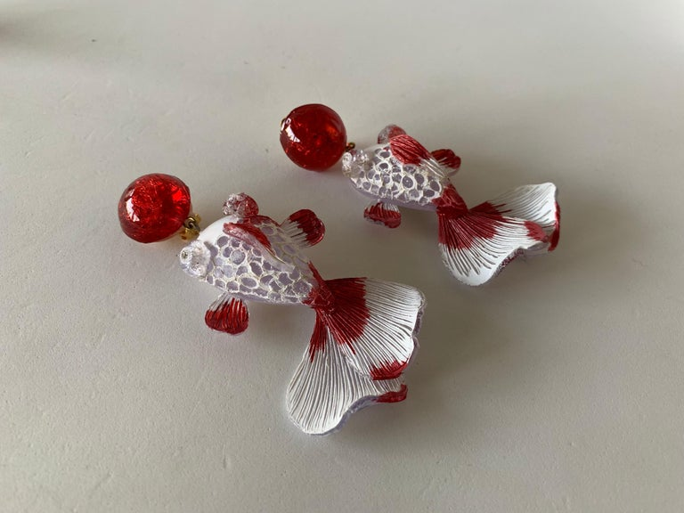 Red and White Koi Fish Statement Earrings  For Sale 2