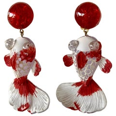 Red and White Koi Fish Statement Earrings