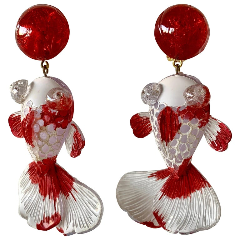 Red and White Koi Fish Statement Earrings  For Sale