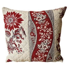 Red and White Stylised Flower Block Printed Cotton Pillow, French, 18th Century